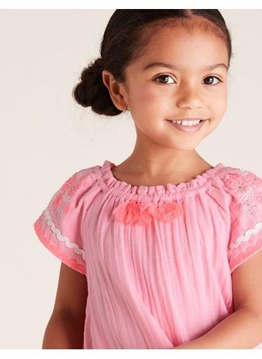 Marks & Spencer Kolları İşlemeli Elbise Pembe